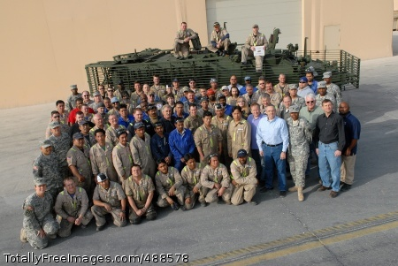 100th Stryker The entire work force at the 1-401st Army Field Support Brigade Stryker Battle Damage Repair Facility, Camp As Sayliyah, Qatar, celebrate the milestone Jan. 12 as an ICV 513 prepares for transit. Photo Credit: Jan 15, 2008