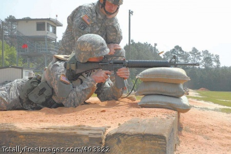 Fort Jackson Sgt. Scott Boyle, a member of the 282nd Army Band, squeezes off a round as he zeroes his rifle in preparation for the range qualification of the U.S. Army Accessions Command NCO and Soldier of the Year competition. Photo Credit: May 24, 2007