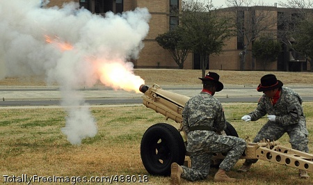 Soldiers of the 2nd Battalion, 82nd Field Artillery fire a salute round during the presentation of honors to the troopers of the 15th Sustainment Brigade during the brigade's change of command ceremony on Fort Hood's Cooper Field Feb. 15.  Photo Credit: Feb 20, 2008