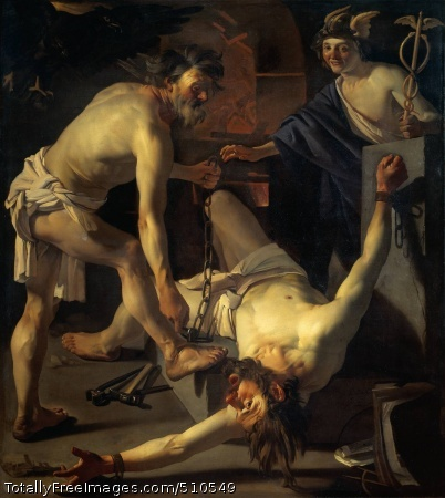 Prometheus being Chained by Vulcan Baburen, Dirck van 1623; Oil on canvas, 202 x 184 cm; Rijksmuseum, AmsterdamOn the floor in a smithy lies Prometheus. The gods' smith, Vulcan, is fastening handcuffs on him, chaining him to a rock. Filled with pity, the messenger of the gods, Mercury watches this happening. The eagle which is to devour his liver every day - Prometheus' punishment for stealing fire from the gods and giving it to mankind - is hovering ominously in a corner. Van Baburen has presented this story from Greek mythology in all its dramatic power and significance. Prometheus, his face creased in anguish, churns the air with his arms. The treatment of light and the lifesize figures reflect the influence of the Italian painter Caravaggio, with contrasts of light and shade, dramatic expressions and unidealized people with sun-tanned hands and faces.PunishmentIn the struggle between the gods of Olympus and the Titans, the Titan Prometheus supported the father of the gods, Jupiter. But when Jupiter revealed his repressive tendencies, Prometheus (meaning 'he who thinks ahead') chose for the side of humans. And against the wishes of Jupiter, he gave humankind the gift of fire. Enraged at this, Jupiter sentenced Prometheus to a terrible punishment. He was to be chained for all eternity to a rock, and an eagle was to peck out his liver every day. This torture would never cease, because during the night the liver would grow back again. But finally the torture was brought to an end by Hercules, Jupiter's own son, who unchained Prometheus.CaravaggistDirck van Baburen spent some time in Italy. Like several other painters from Utrecht he came under the influence of the Italian artist, Caravaggio. The latter's dramatic treatment of light greatly appealed to Baburen, as did his tendency to use ordinary people as models. In his Prometheus painting he has used working men and women as lifesize models. The tanned hands and faces of Vulcan and Prometheus stand out in sharp con