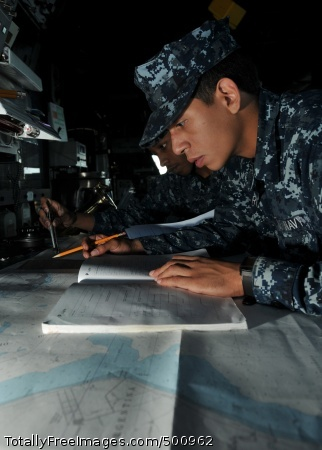 110509-N-NL541-126 ATLANTIC OCEAN (May 9, 2011) Quartermaster Seamen Quinntavius Wallace and Ephrain Rivera, both assigned to the guided-missile frigate USS Thach (FFG 43), perform nautical chart corrections while Thach is anchored off the coast of Rio Grande, Brazil. Thach is participating in the Atlantic phase of UNITAS 52 with the U.S. Coast Guard, and navies from Brazil, Mexico, and Argentina. (U.S. Navy photo by Mass Communication Specialist 3rd Class Stuart Phillips/Released)