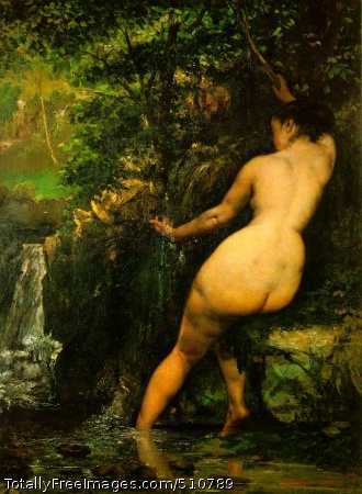 """The Source 1868 (180 kB); Oil on canvas, 128 x 97 cm (4' 2 1/2"""" x 3' 2 1/4""""); Musee d'Orsay, Paris"""