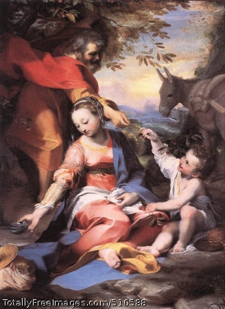 Rest on the Flight to Egypt Barocci, Federico 1570-73; Oil on canvas; Pinacoteca, VaticanThis painting depicts a stop on the Holy Family's journey from Bethlehem to Egypt as related in the Bible. The artist is noted for the elegance of his style and the warmth of his religious feeling.Even in his smaller canvasses which were painted for private chapels or collectors, Barocci abandoned the often cold calligraphy of the Mannerists. Instead, he favoured delicate images, rosy colours, soft light, and landscape settings. This did not mean that Barocci was not also a refined painter. Indeed, in a painting like this the way that the gestures and looks of the characters link to each other shows that he studied his compositions carefully. But what he did not do was to show off cleverness for its own sake. The way that he accurately describes a number of details (the fruits, the metal objects, or the items in the bottom left corner) foreshadows the imminent developments that would give rise to the new (for Italy) genre of still-lifes. This is yet another confirmation of Barocci's key role in a time of transition.