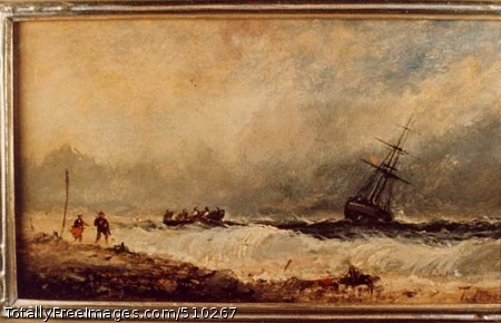 Storm at Sea, Cornwall, England Artist: Moran, Thomas, 1837-1926, painter. Medium: Oil on paper. Smithsonian Control Number: IAP 02230036