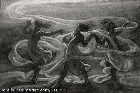 Music - Girls Dancing with Floating Hair Three full-length female figures are holding hands and dancing, entwined with bands of floating swirls. Artist: Vedder, Elihu, 1836-1923, painter. Medium: Oil on canvas. Smithsonian Control Number: IAP 07130171