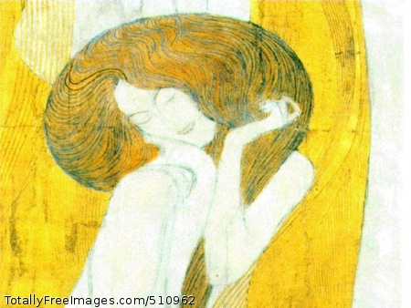 The Beethoven Frieze 1902 (110 Kb); Secession Building, ViennaDetail from the third wall of the frieze depicting man's search of happiness. This section shows the woman used in the repeating motif sitting. Her swirling hair and the gold behind her have a grain like wood.