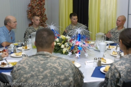 Secretary of the Secretary of the Army Pete Geren enjoys a dinner with Soldiers while listening to their comments and concerns during his visit to Iraq, Sept.  13. ' Photo Credit: Sep 17, 2007