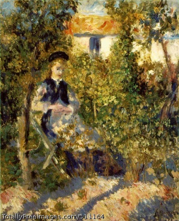 """Nini in the Garden Renoir, Pierre-Auguste 1875-76; Oil on canvas, 24 3/8 x 20 in; Philadelphia Museum of ArtRenoir rarely worked on one canvas at a time, and Nini in the Garden, signed but not dated, belongs to the period immediately before work on the Moulin de la Galette began in earnest. Inspired by Monet's work at Argenteuil, Renoir had been experimenting since the early 1870s with the motif of young women in the garden: in size, , and orientation, Nini in the Garden may be loosely grouped with Woman with a Black Dog, 1874 (formerly, Charles Clore Collection, London) and the radiant Umbrella of 1878 (sale, Christie's, May 11,1988, lot 15). These paintings are identical in size (24 by 20 inches); each explores the problem of integrating the clothed female figure in ambient daylight and achieving a harmony between elegant Parisienne and exuberant nature. Even more closely related is Young Girl on the Beach, which was probably painted at the same session: there, the model, Nini Lopez, sits on a similar garden chair wearing identical dress, but her presence is more assertive, now the chief element in the composition. Both paintings convey the delight that Renoir experienced in the large garden at the rue Cortot. Georges Riviere, who had accompanied Renoir in his search for the ideal Montmartre studio, recalled that """"as soon as Renoir entered the house, he was charmed by the view of this garden, which looked like a beautiful abandoned park. Once we had passed through the narrow hallway, we stood before a vast uncultivated lawn dotted with poppies, convolvulus, and daisies."""" Beyond this, Riviere continued, lay a beautiful allee planted with trees stretching the full length of the garden--this was the view that Renoir used for his celebrated painting The Swing (Musee d'Orsay, Paris)--and at the end was a fruit and vegetable patch with dense bushes and poplar trees. It is difficult to know exactly which corner of the garden is represented in this painting, although Nini"""