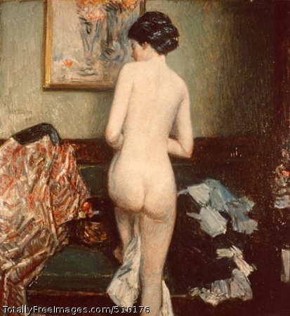 The Model Disrobing Artist: Hassam, Childe, 1859-1935, painter. Medium: Oil on canvas. Smithsonian Control Number: IAP 02230020