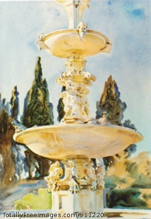 In a Medici Villa 1907; Brooklyn MuseumA fountain on a sunny day. Typical light and shadow.