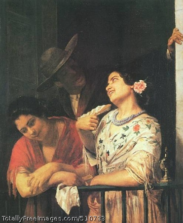 On a Balcony During a Carnival 1873 (40 Kb); Oil on canvas; Philadelphia Museum of Art