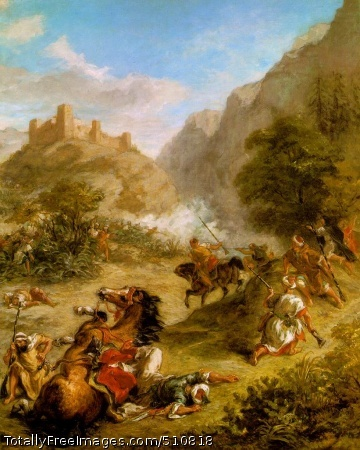 Arabs Skirmishing in the Mountains 1863 (160 Kb); Oil on canvas, 92.5 x 74.6 cm (36 3/8 x 29 3/8 in); The National Gallery of Art, Washington, D.C.