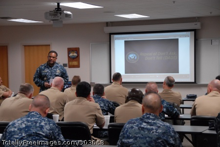 110317-N-5469W-016  MAYPORT, Fla. (March 17, 2011) Rear Adm. Vic Guillory, commander of U.S. Naval Forces Southern Command and U.S. 4th Fleet, kicks off the Don't Ask, Don't Tell repeal Tier 2 command leadership training for commanding officers, executive officers and command master chiefs at Naval Station Mayport. (U.S. Navy photo by Mass Communication Specialist 2nd Class Robert A. Wood Sr./Released)