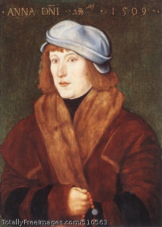 Portrait of a Young Man with a Rosary Baldung Grien, Hans 1509; Oil on panel, 51.4 x 36.8 cm; Royal Collection, WindsorThe artist is one of the most original and creative figures of the German Renaissance. Born in the village of Schwäbisch-Gmund in south-west Germany, his family established close connections with Strasbourg. It was here that Baldung worked for most of his life, apart from four years in Nuremberg spent in Dürer's workshop (1503-c. 1507) and five years in Freiburg-im-Bresgau (1512-17) where he painted his masterpiece, The Coronation of the Virgin, for the high altar of the Münster. Baldung was a prolific artist and his oeuvre comprises numerous prints and designs for book illustrations and stained-glass, as well as paintings and drawings. He was the most individual of Dürer's assistants and his style and treatment of colour are remarkably expressive. The range of subject matter in Baldung's work matches his technical dexterity: religious and mythological themes, in addition to a fascination for witches, are vividly, almost shockingly, handled. In achieving this emphatic style, Baldung was influenced by Grünewald, Cranach, and artists of the Danube school. It is clear that he was inspired by the spirit of the Reformation and this encouraged an element of dualism in his work, most evident during the 1520s. Strasbourg was sympathetic to Reformist ideas and the artist himself was buried in the Protestant cemetery.Portrait of a Young Man with a Rosary is an early work; it is, in fact, the first dated portrait in Baldung's oeuvre, painted on his return to Strasbourg two years after The Martyrdom of Saint Sebastian (Nuremburg, Germanisches Nationalmuseum). The style, combining linearity with a perfectly controlled understanding of the liquidity of paint, is clearly dependent upon Dürer, especially his portraits including that of Burkhard von Speyer in the Royal Collection, painted while Dürer was in Venice from 1506 to 1507. However, the liveliness of the al