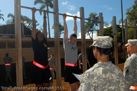 SCHOFIELD BARACKS, Hawaii - PARALEGALS CAN HANG. Competing paralegals from throughout the U.S. Army, Pacific, attempt to hang during the Paralegal Challenge. The hanging event immediately followed an APFT test and 100 meter swim. Immediately afterwards, competitors sat down to a written challenge. The Paralegal Challenge, a competition open to E-6 and below, combines physical challenges simultaneously with mental activities, including other events such as urban orienteering and Article 15 Reviews. Judges were comprised of a panel senior paralegal non-commissioned officers.  Photo Credit: Sep 16, 2008