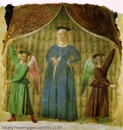 Madonna del parto 1467 (190 Kb); Detached fresco, 206 x 203 cm; Santa Maria a Nomentana, Monterchi