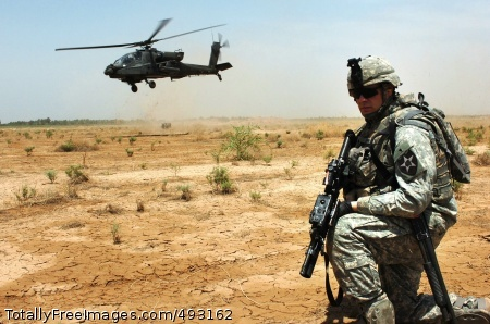 Combat Training in Spc. Thomas Quinn pulls security as an AH-64D Apache helicopter takes off. Photo Credit: Jun 5, 2007