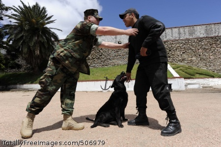 101108-N-8546L-677  MONTEVIDEO, Uruguay (Nov. 10, 2010) Master-at-Arms 1st Class Jonathan Upton, left, a U.S. Navy military working dog handler from Jacksonville, Ala., adjusts the posture of a Uruguayan coast guard dog handler during a three-week training course coordinated by the Maritime Civil Affairs and Security Training Command (MCAST). MCAST delivers teams of highly skilled Sailors to share expertise with partner nations to strengthen international relationships. (U.S. Navy photo by Mass Communication Specialist 1st Class Peter D. Lawlor/Released)