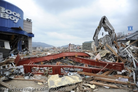110315-N-2653B-054 OFUNATO, Japan (March 15, 2011) The city of Ofunato, Japan, is severely damaged by a 9.0 magnitude earthquake and subsequent tsunami. (U.S. Navy photo by Mass Communication Specialist 1st Class Matthew M. Bradley/Released)