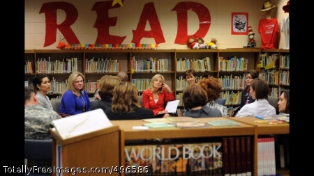 Dr. Jill Biden has a group discussion with teachers and staff members of Joseph Martin Elementary School Dr. Jill Biden, wife of Vice President Joe Biden, has a group discussion with teachers and staff members of Joseph Martin Elementary School in Hinesville, Georgia. Dr. Biden's visit focused on military families and the specific needs of military children in the classroom, February 14, 2011. (Photo by D. Myles Cullen)