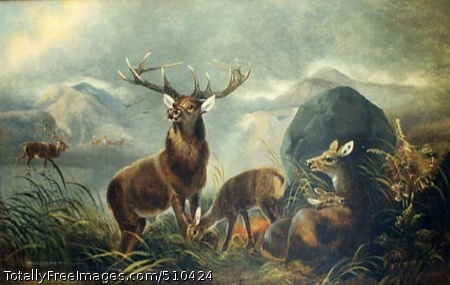 Elk in the Meadow A buck with doe and two fawn in foreground; a buck alone in background (left center), with mountains and overcast sky. Artist: Tait, Arthur Fitzwilliam, 1819-1905, painter. Medium: Oil on canvas. Smithsonian Control Number: IAP 73261624