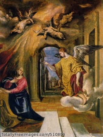 """The Annunciation (200 Kb); Paint on board, 49 x 37 cm (19 1/4 x 14 5/8""""); Museo del Prado, Madrid"""