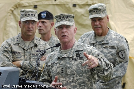 Guard's Lack of Lt. Gen. H Steven Blum speaks during a press conference at the Muscatatuck Urban Training Center, Ind., May 12. Behind him are (from left) Air Force Gen. Victor E. Renuart Jr., commander of the North American Aerospace Defense Command and U.S. Northern Command; Army Maj. Gen. Bruce E. Davis, commander of Joint Task Force Civil Support; and Army Maj. Gen. R.Martin Umbarger, Indiana Adjutant General. The generals were attending an exercise which tested the Guard's response to a simulated nuclear weapons attack on the United States. Photo Credit: May 25, 2007