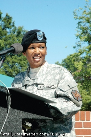 Grays takes Col. Deborah B. Grays, incoming commander, U.S. Army Garrison, Fort McPherson and Fort Gillem, Ga., addresses the audience during her change of command ceremony. Photo Credit: Jul 4, 2008