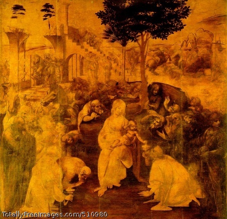 The Adoration of the Magi 1481-82 (200 Kb); Yellow ochre and brown ink on panel, 246 x 243 cm (8 x 8 ft); Uffizi, Florence