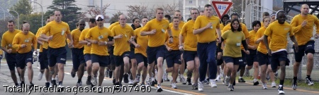 101112-N-7103C-048 YOKOSUKA, Japan (Nov. 12, 2010) Sailors assigned to the aircraft carrier USS George Washington (CVN 73) run the mile and a half portion of the Navy Physical Readiness Test at Fleet Activities Yokosuka. The Physical Readiness Test is performed every six months to evaluate the ability of Sailors to perform at a required standard. (U.S. Navy photo by Mass Communication Specialist 3rd Class David A. Cox/Released)