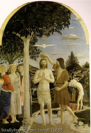 The Baptism 1442 (180 Kb); Tempera on panel, 167 x 116 cm; National Gallery, London