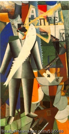 The Aviator 1914; Oil on canvas, 125 x 65 cm (49 1/4 x 25 5/8 in); State Tretyakov Gallery, Moscow