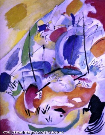 Improvisation 31 (Sea Battle) Kandinsky, Wassily 1913; Oil on canvas, 145 x 119.7cm (57 x 47 in); National Gallery of Art, Washington D.C., Ailsa Mellon Bruce Fund.  1978.48.1 (2725)Kandinsky and abstractionNeither Marc nor Macke were abstract painters. It was Kandinsky who found that the ``interior necessity'', which alone could inspire true art, was forcing him to leave behind the representational image. He was a Russian who had first trained as a lawyer. He was a brilliant and persuasive man. Then, when already in his thirties, he decided to go to Munich in 1897 to study art. By the time Der Blaue Reiter was established, he was already ``abstracting'' from the image, using it as a creative springboard for his pioneering art. Seeing a painting of his own, lying on its side on the easel one evening, he had been struck by its beauty, a beauty beyond what he saw when he set it upright. It was the liberated color, the formal independence, that so entranced him.Kandinsky, a determined and sensitive man, was a good prophet to receive this vision. He preached it by word and by example, and even those who were suspicious of this new freedom were frequently convinced by his paintings. Improvisation 31 has a less generalized title, Sea Battle, and by taking this hint we can indeed see how he has used the image of two tall ships shooting cannonballs at each other, and abstracted these specifics down into the glorious commotion of the picture. Though it does not show a sea battle, it makes us experience one, with its confusion, courage, excitement, and furious motion.Kandinsky says all this mainly with the color, which bounces and balloons over the center of the picture, roughly curtailed at the upper corners, and ominously smudged at the bottom right. There are also smears, whether of paint or of blood. The action is held tightly within two strong ascending diagonals, creating a central triangle that rises ever higher. This rising accent gives a heroic feel to the violence.T