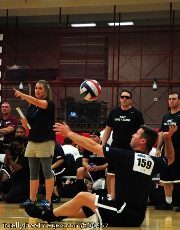 110518-N-UD644-182 COLORADO SPRINGS, Colo. (May 18, 2011) Chief Special Operator Dan Cummings, a member of the Navy/Coast Guard Team, serves during a Warrior Games sitting volleyball match against the Air Force. The Navy/Coast Guard team defeated the Air Force in straight sets. Warrior Games is a Paralympic-style sport event among 200 seriously wounded, ill, and injured service members from the U.S. Army, Navy, Air Force, Marine Corps, and Coast Guard. (U.S. Navy photo by Mass Communication Specialist 2nd Class Sarah E. Bitter/Released)