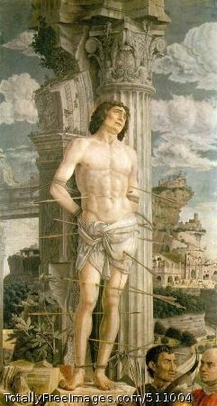 St. Sebastian c. 1480 (170 Kb); Canvas, 255 x 140 cm (100 1/2 x 55 in); Musee du Louvre, Paris