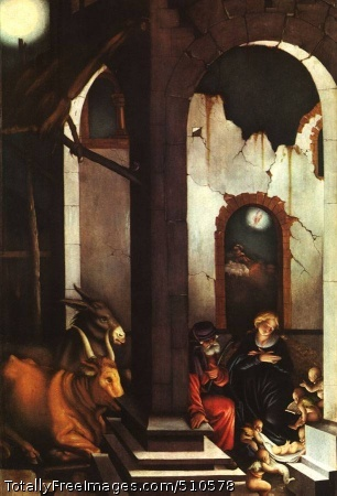 Nativity / The Birth of Jesus 1520; Pine panel, 105.5 x 70.4 cm; Alte Pinakothek, MunichAn idyllic representation of the frequently painted subject from one of the most peculiar German Renaissance artists.