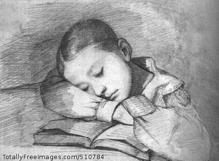 Portrait of Juliette Courbet as a Sleeping Child 1841 (110 kB); Graphite on paper; Musee d'Orsay