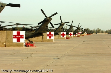 Medical evacuation UH-60 Black Hawk helicopters sit on the airfield at Camp Taji, Iraq. The MEDEVAC Soldiers from Company C, 2nd Battalion, 227th Aviation Regiment, 1st Air Cavalry Brigade, 1st Cavalry Division, transferred authority of the MEDEVAC mission for the Baghdad area to Company C, 2nd Battalion, 3rd Aviation Regiment, 3rd Infantry Division. Photo Credit: Nov 15, 2007
