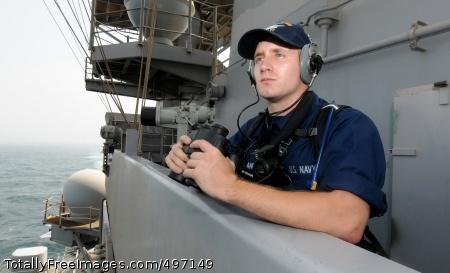 110723-N-QL471-036 ARABIAN SEA (July 23, 2011) Seaman Tyler D. Nordland stands lookout watch on vulture's row aboard the aircraft carrier USS George H.W. Bush (CVN 77). George H.W. Bush is deployed to the U.S. 5th Fleet area of responsibility on its first operational deployment conducting maritime security operations and support missions as part of Operations Enduring Freedom and New Dawn. (U.S. Navy photo by Mass Communication Specialist 3rd Class Billy Ho/Released)