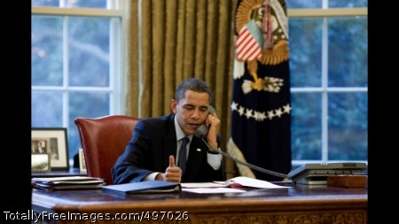 START 13 President Barack Obama talks with Russian President Dmitry Medvedev on the phone in the Oval Office, before the two leaders issued a joint statement about their continued cooperation on the new START Treaty, December 4, 2009. (Official White House Photo by Chuck Kennedy)
