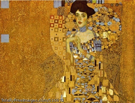 Adele Bloch-Bauer I 1907 (140 Kb); Oil and gold on canvas, 138 x 138; Austrian Gallery, ViennaAdele Bloch-Bauer clasping her hands (she had a deformed finger). Dressed in gold, surrounded by gold. A very gold picture.