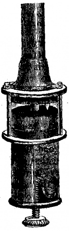 Fortin's Barometer. The upper part of the cistern is formed of a glass cylinder, through which the level of the mercury may be seen. The bottom is made like a bag, of flexible leather, against which a screw works. At the top of the interior of the cistern is a small piece of ivory, the point of which coincides with the zero of the scale. By means of the screw, which acts on the flexible cistern bottom, the level of the mercury can be raised or depressed so as to bring the ivory point exactly to the surface of the mercury in the cistern. In some barometers the cistern is fixed, and the ivory point is brought to the level of the mercury in the cistern by raising or depressing the scale.