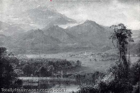 Mountains of Ecuador View of Ecuador's tropical landscape with lush vegetation in the foreground and a lake with two figures in a boat on the left. Beyond the lake there is a stone bridge with a road leading back to a town at the foot of the mountains. In the background clouds cover the mountain tops. Artist: Church, Frederic Edwin, 1826-1900, painter. Medium: Oil on canvas. Smithsonian Control Number: IAP 06910235