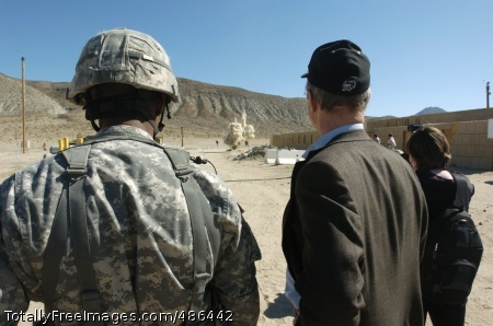 RPG Secretary of the Army, the Honorable Pete Geren and Brigadier General Dana J.H. Pittard, commander of the National Training Center and Fort Irwin, watch a demonstration of a simulated rocket propelled grenade that was developed at the NTC. The device is one of many improvements made at the training center to create a realistic training environment for Soldiers deploying in support of OIF/OEF.  Photo Credit: May 1, 2008