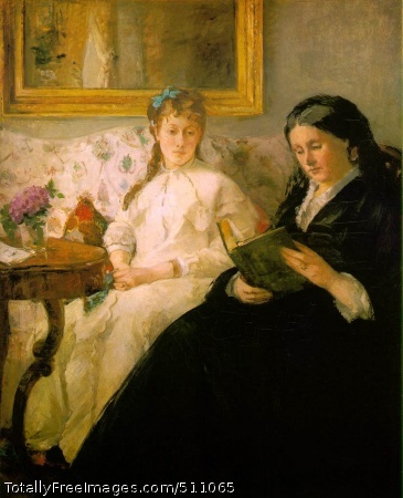 "La lecture (Reading: The Mother and Sister Edma of the Artist) 1869-70 (100 Kb); Oil on canvas, 101 x 81.8 cm (39 3/4 x 32 1/4""); National Gallery of Art, Washington; painting retouched by Manet"