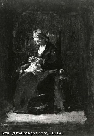 Sewing An elderly woman is seated in a chair and sewing. Her head is bowed as she looks at the white fabric and needles she holds. Artist: Eakins, Thomas, 1844-1916, painter. Medium: Oil on panel. Smithsonian Control Number: IAP 07130032