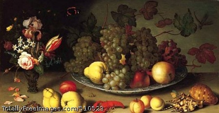 Still Life with Fruits and Flowers late 1620s; Oil on panel, 41.3 x 74.9 cm; The Norton Simon Museum, Pasadena, CA USA