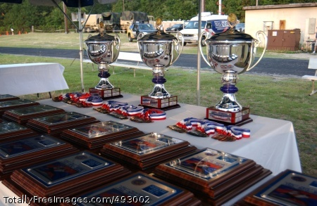 Fort Bragg 10-Miler Trophies for the winners of the 11th Annual Fort Bragg Army Birthday 10-Miler, a 10 mile run commemorating the 232nd Army Birthday, were on display before being awarded June 8 at Fort Bragg, N.C. Photo Credit: Jun 14, 2007