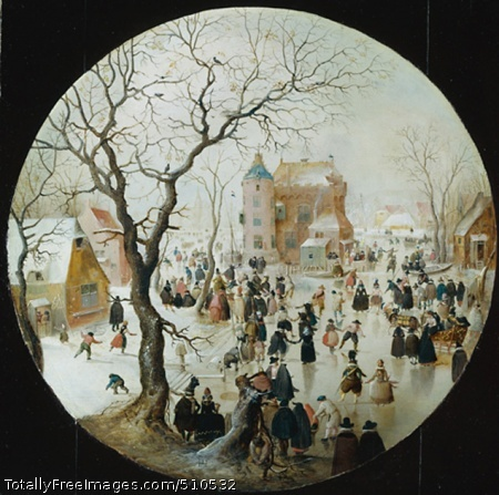 A Winter Scene with Skaters near a Castle Avercamp, Hendrick c.1608-09; Oil on oak, 40.7 x 40.7 cm; National Gallery, London, UKThe Dutch painter Avercamp specialised in winter scenes of ice-covered canals showing figures skating and sledging. Small in scale, they are filled with intricate and carefully observed details. He was born in Amsterdam, but spent most of his life in the remote town of Kampen in Zuider Zee. His oil paintings and drawings enjoyed great popularity during his lifetime.Avercamp's lively picture is typical of his winter scenes in which men and women from every level of society enjoy themselves on the ice. Elegantly designed, the spindly silhouetted tree frames the castle behind, while the distance is lost in a frosty haze. The scene is imagined, no such castle existed, but Avercamp has filled it with carefully observed and witty incident and detail. Smartly dressed couples hold hands and skate into the picture, children play on the left and near the picture's centre a man crashes to the ice while his partner throws up her arms in horror.This busy scene of winter pursuits is full of closely observed detail. It is filled with people from all walks of life going about their business as well as enjoying themselves. On the right, the carved and gilded horse-drawn sledge has a lion rampant on its back and side, which may be an allusion to the lion of the Dutch United Provinces. The castle is imaginary.This picture was once extended into a square shape. During cleaning in 1983 it was discovered that the additions were by a later hand and they were, therefore, removed.