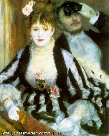 "La loge (The Theater Box) Renoir, Pierre-Auguste 1874 (160 Kb); Oil on canvas, 80 x 63.5 cm (31 1/2 x 25""); Courtauld Institute Galleries, University of LondonThis masterpiece, painted when Renoir was thirty-three and shown in the first Impressionist exhibition of 1874, can be regarded simply as a glimpse of contemporary life but is in a sense portraiture also. Renoir's brother Edmond posed for the man, the girl was a well-known Montmartre model nicknamed `Nini gueule en raie'.Renoir had already been working in close accord with Monet at La Grenouillère but in this instance made no special effort at Impressionist innovation, such as might convey the impression of a theatre by the treatment of light. Nor did he have any scruple about using black, on which Impressionist theory frowned, deriving its utmost density from Edmond's evening dress and opera-glasses and Nini's righly stripped attire. All his appreciation of feminine charm of feature appears in the eyes, the mobile mouth and delicate skin of his female model contrasted with the countenance of Edmond in shadow. In spite of the beauty and luxurious character of the painting it found no buyer and Renoir by his own account was only too glad to dispose of it to the dealer known as le père Martin for 425 francs. He was adamant in not taking less as this was the exact amount needed to pay rent due and he had no other resource. But Nini of La Loge was the first of the long series of portraits that Renoir was able to invest with an inimitable charm."